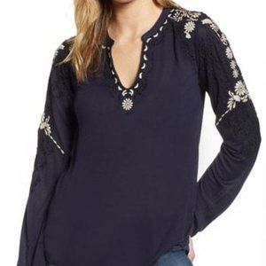 LUCKY BRAND Embroidered Sleeve Peasant Navy Top S